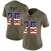 Wholesale Cheap Nike Saints #75 Andrus Peat Olive/USA Flag Women's Stitched NFL Limited 2017 Salute To Service Jersey