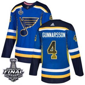 Wholesale Cheap Adidas Blues #4 Carl Gunnarsson Blue Home Authentic Drift Fashion 2019 Stanley Cup Final Stitched NHL Jersey