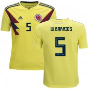 Wholesale Cheap Colombia #5 W.Barrios Home Kid Soccer Country Jersey