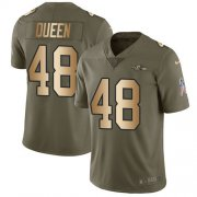 Wholesale Cheap Nike Ravens #48 Patrick Queen Olive/Gold Men's Stitched NFL Limited 2017 Salute To Service Jersey