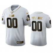 Wholesale Cheap Cleveland Browns Custom Men's Nike White Golden Edition Vapor Limited NFL 100 Jersey