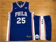 Wholesale Cheap Nike Philadelphia 76ers #25 Ben Simmons Blue Swingman Jersey(With Shorts)