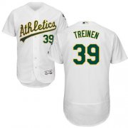 Wholesale Cheap Athletics #39 Blake Treinen White Flexbase Authentic Collection Stitched MLB Jersey