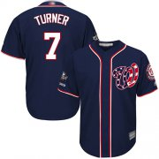 Wholesale Cheap Nationals #7 Trea Turner Navy Blue Cool Base 2019 World Series Champions Stitched Youth MLB Jersey