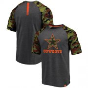 Wholesale Cheap Dallas Cowboys Pro Line by Fanatics Branded College Heathered Gray/Camo T-Shirt