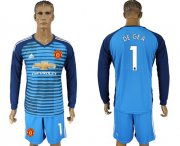 Wholesale Cheap Manchester United #1 De Gea Blue Long Sleeves Soccer Club Jersey