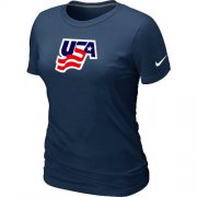 Wholesale Cheap Women's Nike USA Graphic Legend Performance Collection Locker Room T-Shirt Dark Blue