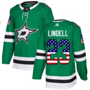 Wholesale Cheap Adidas Stars #23 Esa Lindell Green Home Authentic USA Flag Stitched NHL Jersey