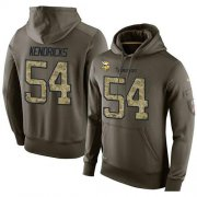 Wholesale Cheap NFL Men's Nike Minnesota Vikings #54 Eric Kendricks Stitched Green Olive Salute To Service KO Performance Hoodie