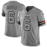 Wholesale Cheap Cleveland Browns #6 Baker Mayfield Men's Nike Gray Gridiron II Vapor Untouchable Limited NFL Jersey