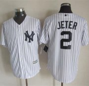 Wholesale Cheap Yankees #2 Derek Jeter White Strip New Cool Base Stitched MLB Jersey