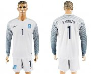 Wholesale Cheap Greece #1 Karnezis White Goalkeeper Long Sleeves Soccer Country Jersey