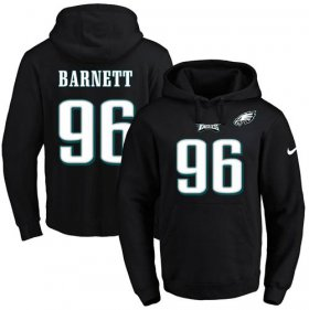 Wholesale Cheap Nike Eagles #96 Derek Barnett Black Name & Number Pullover NFL Hoodie