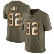 Wholesale Cheap Nike Raiders #92 P.J. Hall Olive/Gold Men's Stitched NFL Limited 2017 Salute To Service Jersey