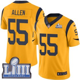 Wholesale Cheap Nike Rams #55 Brian Allen Gold Super Bowl LIII Bound Men\'s Stitched NFL Limited Rush Jersey