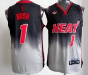 Wholesale Cheap Miami Heat #1 Chris Bosh Black/Gray Fadeaway Fashion Jersey