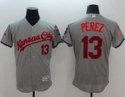 Wholesale Cheap Royals #13 Salvador Perez Grey Fashion Stars & Stripes Flexbase Authentic Stitched MLB Jersey