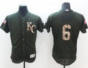 Wholesale Royals #6 Lorenzo Cain Green Flexbase Authentic Collection Salute to Service Stitched Baseball Jersey