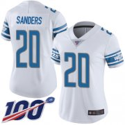 Wholesale Cheap Nike Lions #20 Barry Sanders White Women's Stitched NFL 100th Season Vapor Limited Jersey