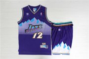 Wholesale Cheap Jazz 12 John Stockton Purple Hardwood Classics Jersey(With Shorts