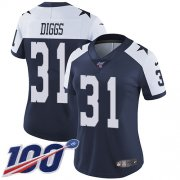 Wholesale Cheap Nike Cowboys #31 Trevon Diggs Navy Blue Thanksgiving Women's Stitched NFL 100th Season Vapor Throwback Limited Jersey