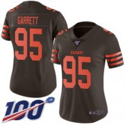 Wholesale Cheap Nike Browns #95 Myles Garrett Brown Women's Stitched NFL Limited Rush 100th Season Jersey