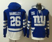 Wholesale Cheap Men's New York Giants #26 Saquon Barkley NEW Blue Pocket Stitched NFL Pullover Hoodie