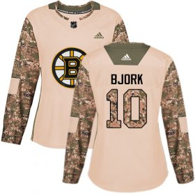 Wholesale Cheap Adidas Bruins #10 Anders Bjork Camo Authentic 2017 Veterans Day Women\'s Stitched NHL Jersey