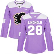 Wholesale Cheap Adidas Flames #28 Elias Lindholm Purple Authentic Fights Cancer Women's Stitched NHL Jersey