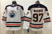 Wholesale Cheap Adidas Oilers #97 Connor McDavid White Road Authentic Stitched Youth NHL Jersey