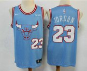 Wholesale Cheap Men's Chicago Bulls #23 Michael Jordan Blue 2020 City Edition NBA Swingman Jersey With The Sponsor Logo