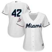 Wholesale Cheap Miami Marlins #42 Majestic Women's 2019 Jackie Robinson Day Official Cool Base Jersey White