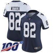 Wholesale Cheap Nike Cowboys #82 Jason Witten Navy Blue Thanksgiving Women's Stitched NFL 100th Season Vapor Throwback Limited Jersey