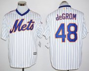 Wholesale Cheap Mets #48 Jacob DeGrom White(Blue Strip) Cool Base Cooperstown 25TH Stitched MLB Jersey