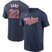 Wholesale Cheap Minnesota Twins #22 Miguel Sano Nike Name & Number T-Shirt Navy