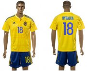 Wholesale Cheap Ukraine #18 Rybalka Home Soccer Country Jersey