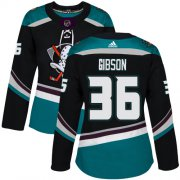 Wholesale Cheap Adidas Ducks #36 John Gibson Black/Teal Alternate Authentic Women's Stitched NHL Jersey