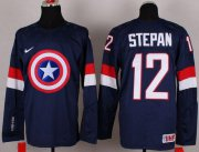 Wholesale Cheap Olympic Team USA #12 Derek Stepan Navy Blue Captain America Fashion Stitched NHL Jersey