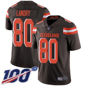 Wholesale Cheap Nike Browns #80 Jarvis Landry Brown Team Color Men\'s Stitched NFL 100th Season Vapor Limited Jersey