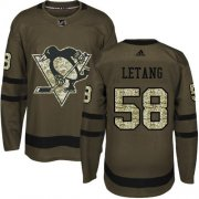 Wholesale Cheap Adidas Penguins #58 Kris Letang Green Salute to Service Stitched NHL Jersey