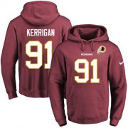 Wholesale Cheap Nike Redskins #91 Ryan Kerrigan Burgundy Red Name & Number Pullover NFL Hoodie