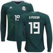 Wholesale Cheap Mexico #19 O.Pineda Home Long Sleeves Soccer Country Jersey