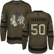 Wholesale Cheap Adidas Blackhawks #50 Corey Crawford Green Salute to Service Stitched Youth NHL Jersey
