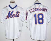 Wholesale Cheap Mets #18 Darryl Strawberry White(Blue Strip) Cool Base Cooperstown 25TH Stitched MLB Jersey