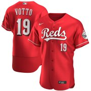 Wholesale Cheap Cincinnati Reds #19 Joey Votto Men's Nike Scarlet Authentic Alternate Player MLB Jersey