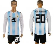 Wholesale Cheap Argentina #20 Kun Aguero Home Long Sleeves Soccer Country Jersey