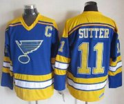 Wholesale Cheap Blues #11 Brian Sutter Light Blue/Yellow CCM Throwback Stitched NHL Jersey