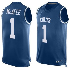 Wholesale Cheap Nike Colts #1 Pat McAfee Royal Blue Team Color Men\'s Stitched NFL Limited Tank Top Jersey