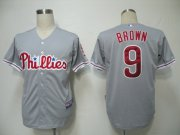 Wholesale Phillies #9 Domoic Brown Grey Cool Base Stitched Baseball Jersey