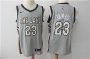 Wholesale Cheap Nike Cavaliers #23 LeBron James Gray Nike City Edition Swingman Jersey